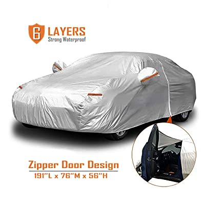 """CARBABA Car Cover, Universal Full Car Covers with Zipper Door, 6 Layers All Weather Protection Waterproof/Windproof/Scratch Resistant/Reflective Strips for Sedan Wagon Use (177"""" - 191""""): Automotive"""