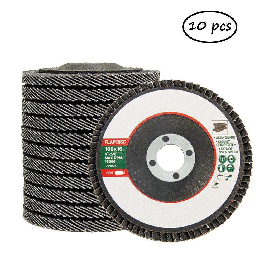 4.5'' x 7/8'' Premium Zirconia Flap Disc Grinding Wheel 60/80/120 Grit Type 29-10 Pack #50-FLP (10, 60)