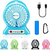 dizauL Portable Fan, mini usb rechargeable fan with 2600mAh Battery Operated and Flash light,for Traveling,Fishing,Camping,Hiking,Backpacking,BBQ,Baby Stroller,Picnic,Biking,Boating (Blue)