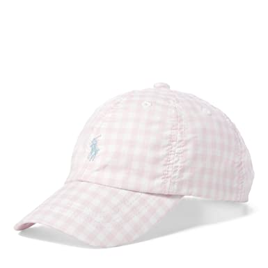 4520fe9c7067 Polo Ralph Lauren Girl`s Gingham Poplin Baseball Hat (Light Pink(8001). Roll  over image to zoom in