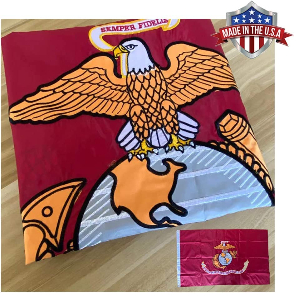 JAYUS Embroidered US Marine Corps (USMC) Military Flags 3x5 Outdoor- 340D Heavy Duty Nylon Double Sided USMC Army Flag Banner with 2 Grommets