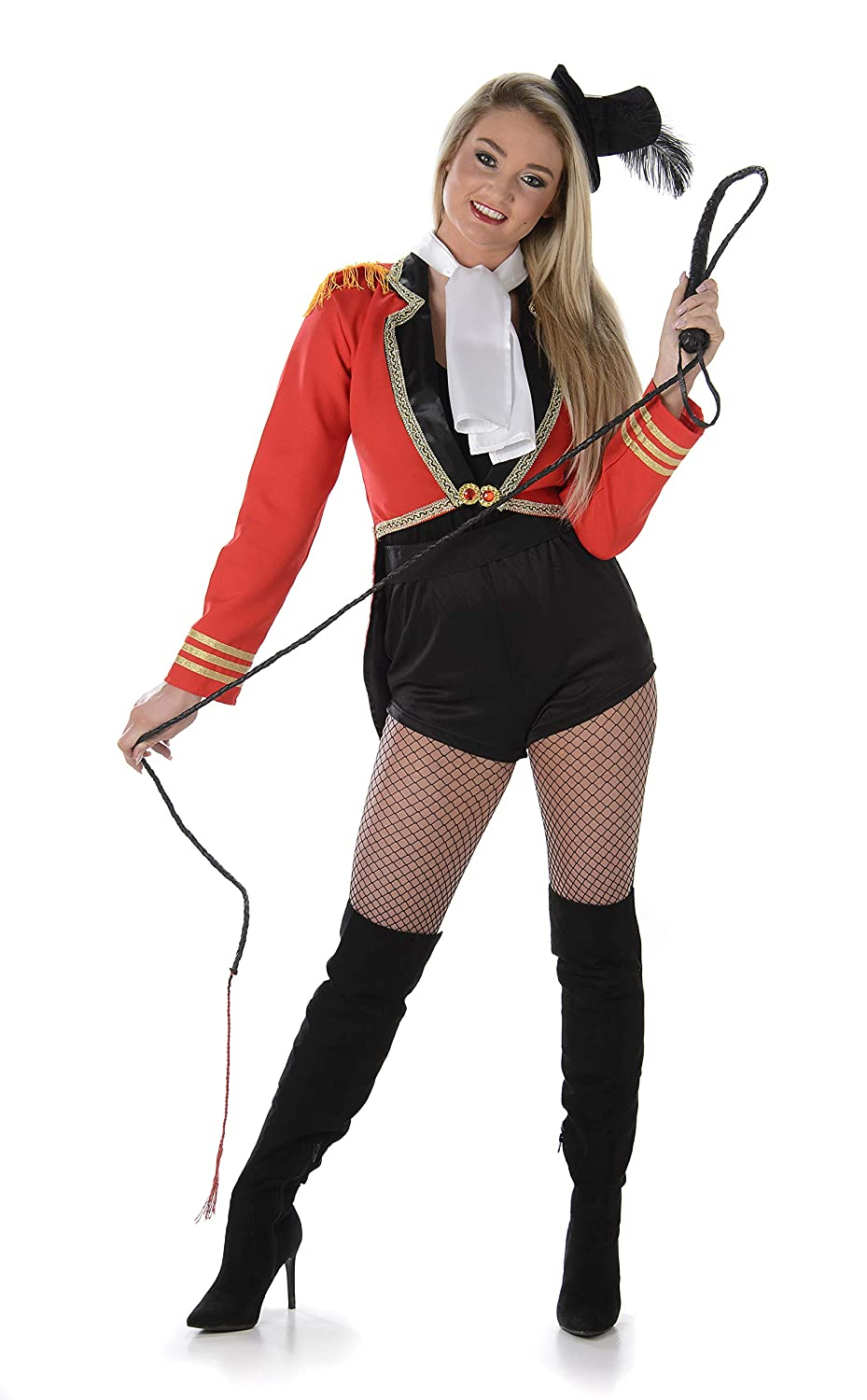 e55599f6f2a93 Amazon.com: Sexy Ringmaster Costume - Halloween Womens Vintage Carnival  Cropped Red Outfit: Clothing