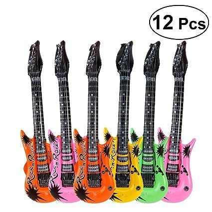 BESTOYARD 12pcs Globo de la Hoja de la Guitarra Instrumentos de Rock Mylar Globos para la