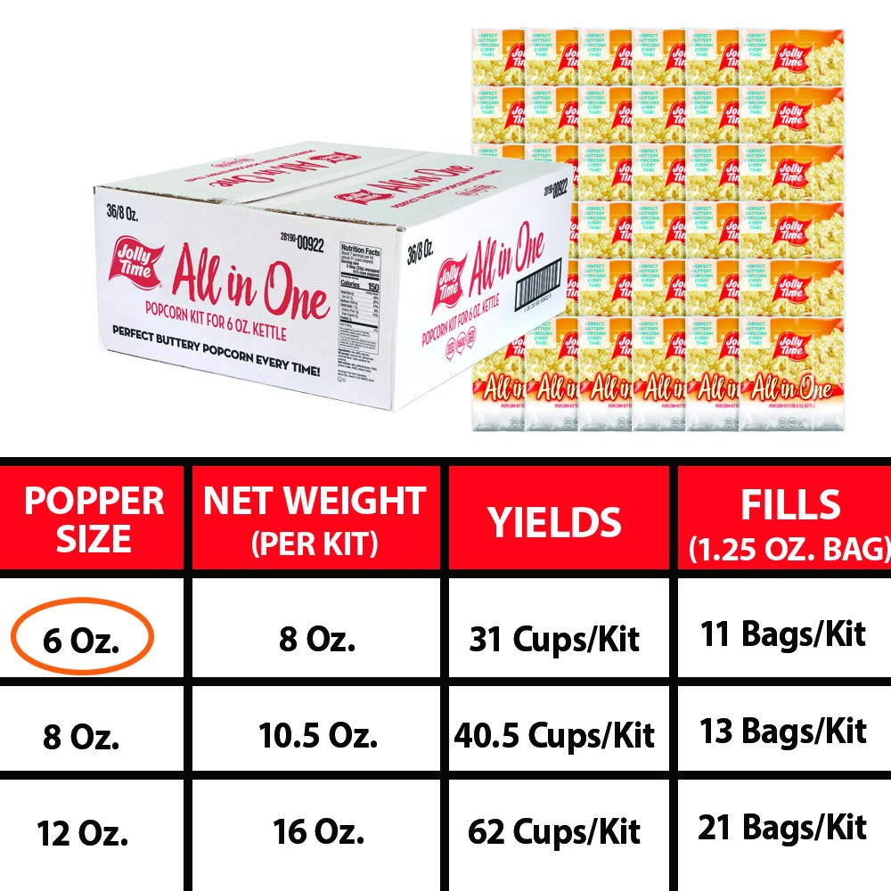 JOLLY TIME All in One Kit for 6 oz. Popcorn Machine | Portion Packet with Kernels, Oil and Salt for Commercial, Movie Theater or Air Popper (Net Wt. 8 oz. Each, Pack of 36) by Jolly Time (Image #4)