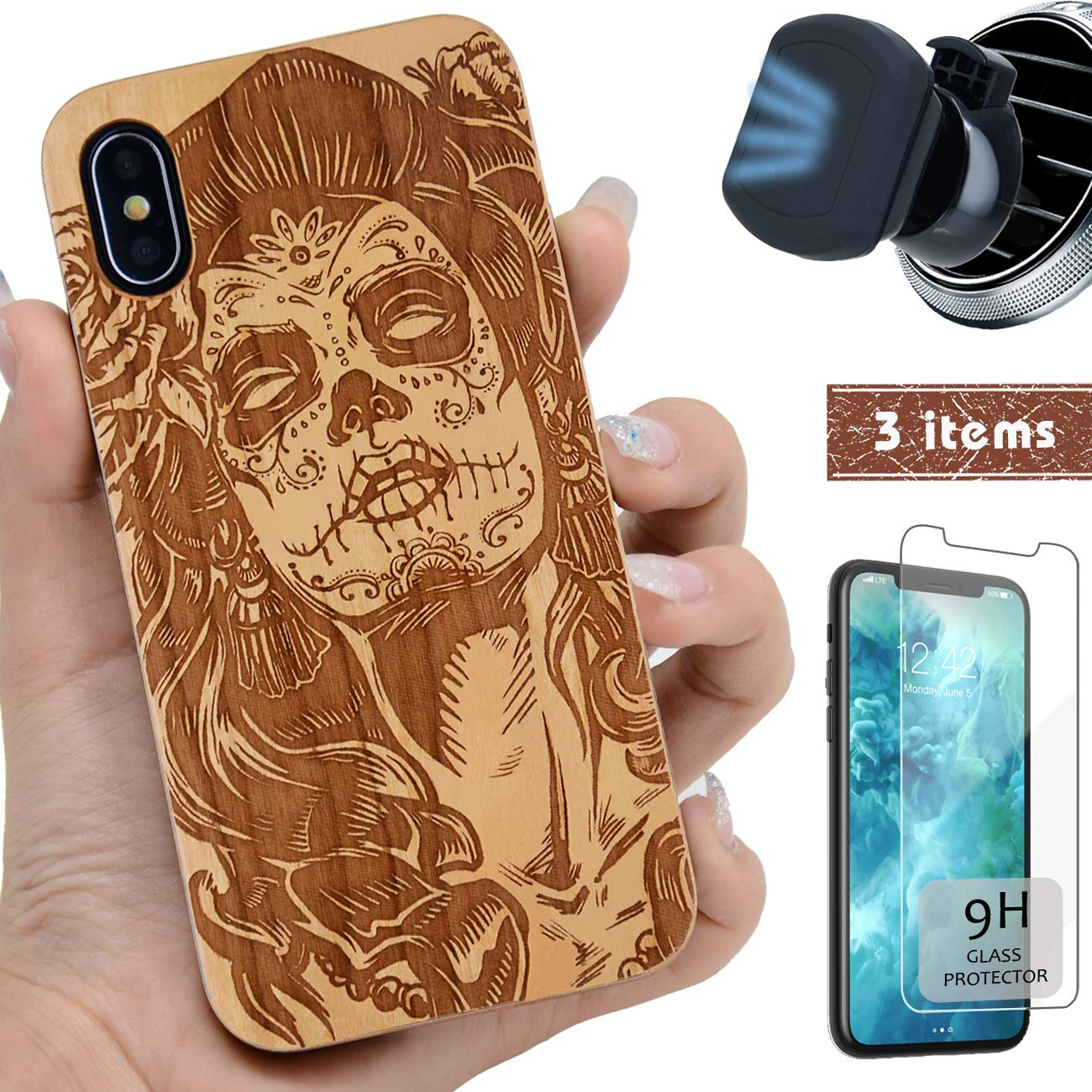 iProductsUS Wood Phone Case Compatible with iPhone X/Xs,Magnetic Mount and Screen Protector-Engraved Cool Skull Girl,Compatible Wireless Charger,Built-in Metal Plate,TPU Rubber Protective Cover(5.8'')