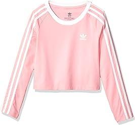 aebc7baef adidas Originals Girls' Big 3-Stripes Crop Long Sleeve Tee