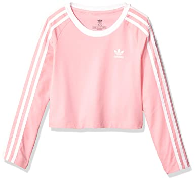 35dd91f42 adidas Originals Girls' Big 3-Stripes Crop Long Sleeve Tee
