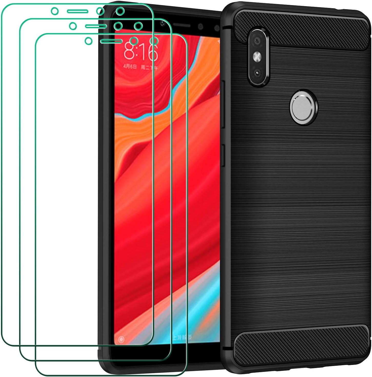 ivoler Funda para Xiaomi Redmi S2 + 3 Unidades Cristal Templado, Fibra de Carbono Negro TPU Suave de Silicona [Carcasa + Vidrio Templado] Ultra Fina Caso y Protector de Pantalla