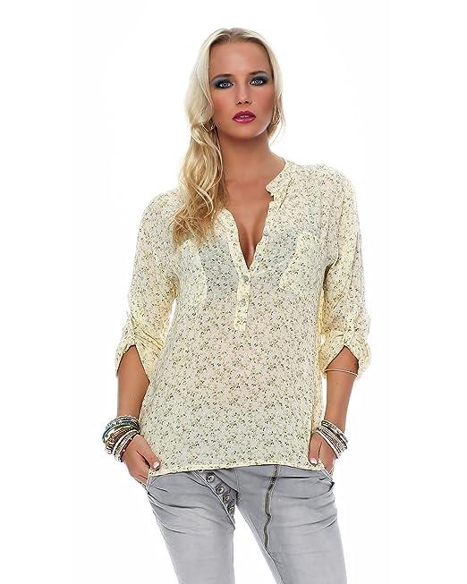 Zarmexx Fina Blusa Camisa Viscosa Fisher Regular de Ajuste Ligero 3/4 Brazo Blusa de