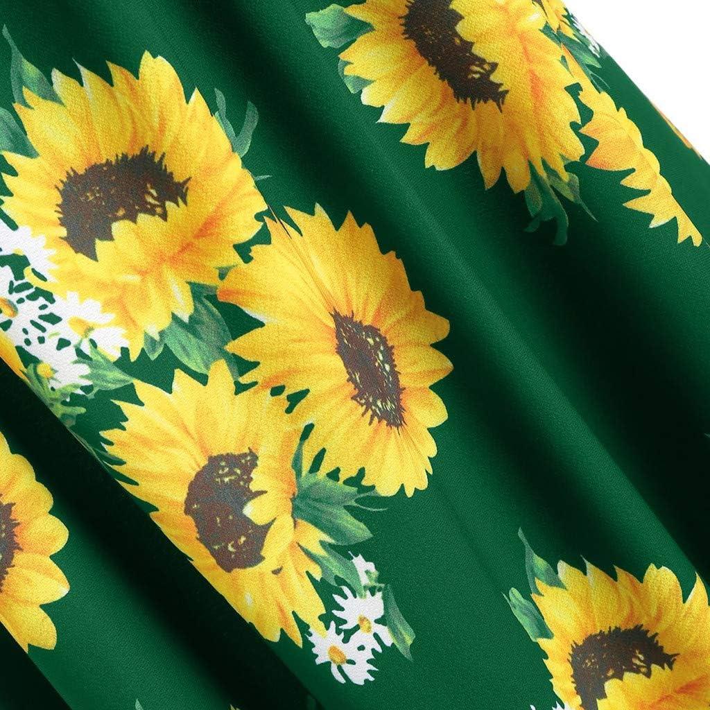 Dunacifa Women Sleeveless Dresses Ladies Round Neck Sunflower Print Strap Mini Dress Summer Dress