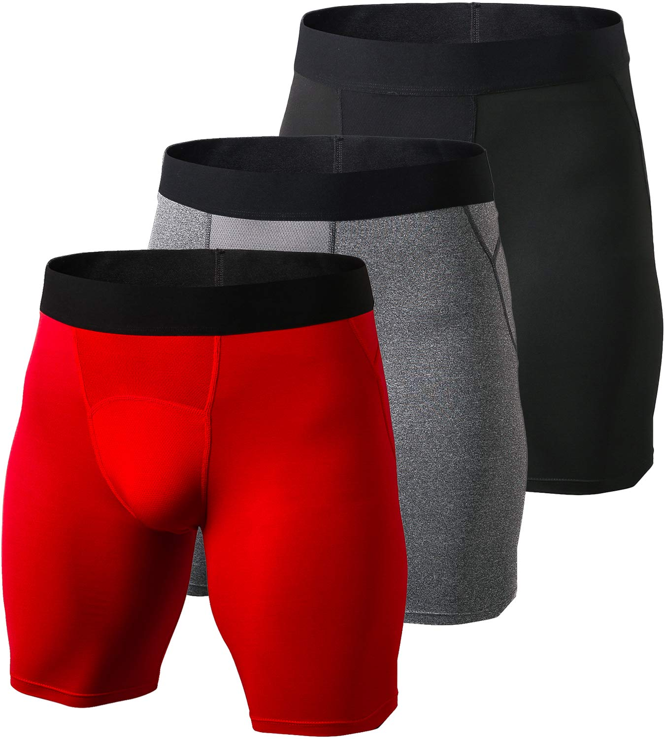 laventoメンズ圧縮ショートBaselayer Boxer Briefクールドライスポーツタイツ B07588ZTVN X-Large|3 Pack-1044 Black/Gray/Red 3 Pack-1044 Black/Gray/Red X-Large