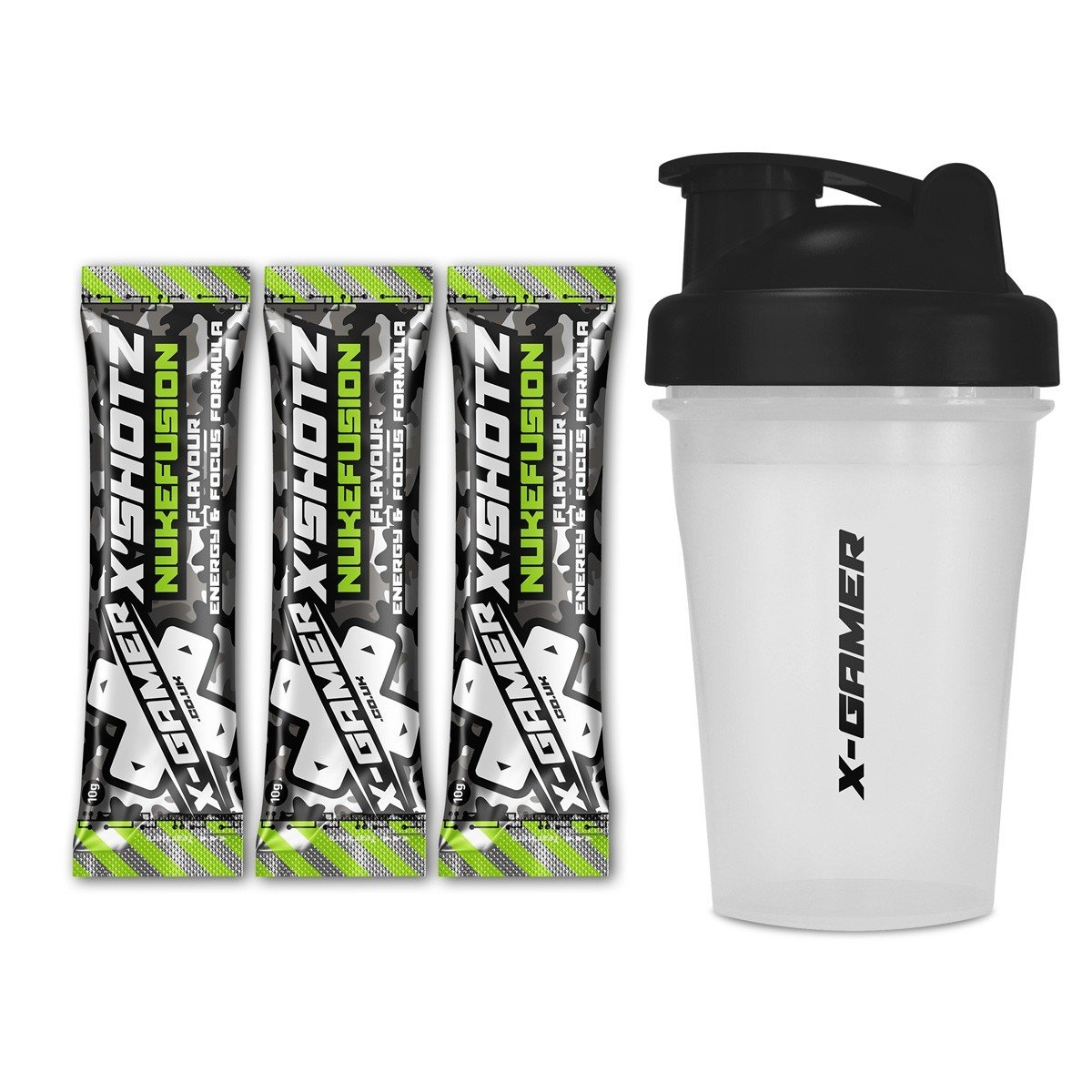 X-Gamer   X-Shotz Nukefusion (3 Pack) with X-Shakez Shaker   Nukefusion Flavored Focus and Energy-Drink Beverage for Gamers and E-Sports Enthusiasts   27 Multi-Vitamin Complex   Zero Added Sugar