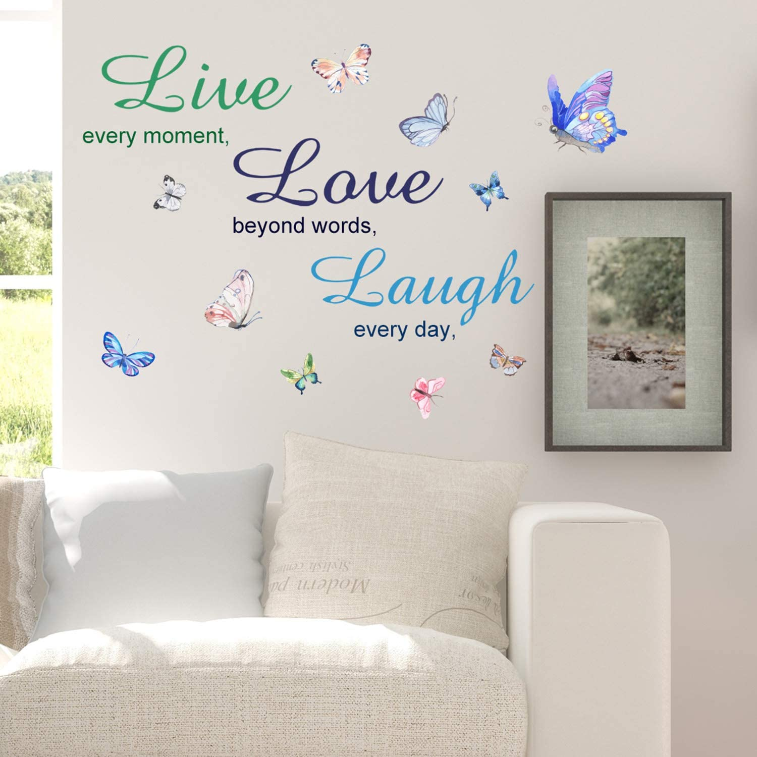 Finduat Live Laugh Love Butterfly Wall Decal Art, Vinyl Live Laugh Love Wall Decor Stickers Motivational Quotes for Bedroom, Removable Wall Sign Mural DIY Home Decorations Decals