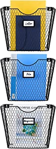PAG 3 Pockets Wall File Holder Hanging Mail Organizer Wall Mount Magazine Rack Metal Chicken Wire Basket with Tag Slot, Black
