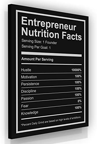 Entrepreneur Nutrition Facts Canvas Print Motivational Wall Office Decor Modern Art Inspirational Motivation Entrepreneurship Hustle Success 36″ x 24″