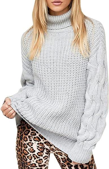 YGbuy-Blusa De Cuello Alto para Mujer Blusa De Punto De Punto Blusa De SuéTer Jersey Holgado CóModo Camisa De Mujer OtoñO E Invierno Camisas De Mujer Temporada Abierta Fuera De Uso: Amazon.es: