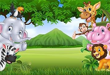 Amazon Com Lfeey 7x5ft Cartoon Zoo Photo Backdrop