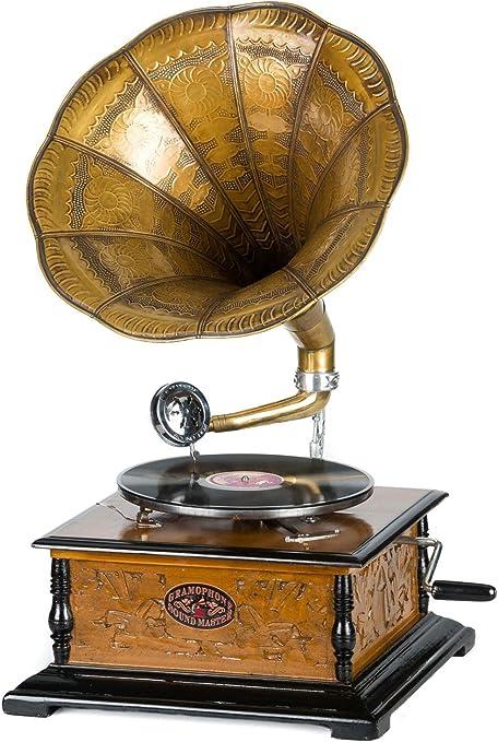 Aubaho Gramophone Style Antique Avec Pavillon Disque 78 Tours Inclus Amazon Fr Cuisine Maison