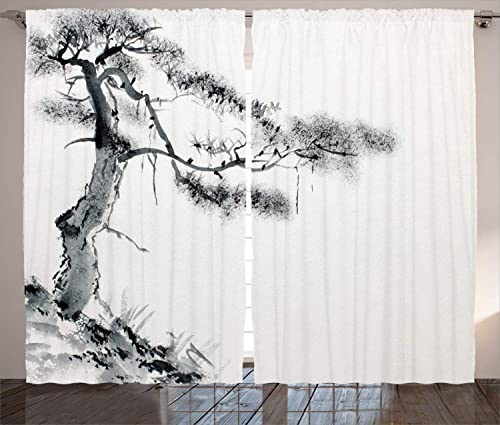 Ambesonne Asian Curtains, Lone Pine on Mountain Slope Art Traditional Chinese Painting Style Oriental Culture, Living Room Bedroom Window Drapes 2 Panel Set, 108 X 90 , White Grey