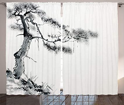 Ambesonne Asian Decor Collection, Lone Pine on Mountain Slope Art in  Traditional Chinese Painting Style Oriental Culture , Living Room Bedroom  Curtain ...