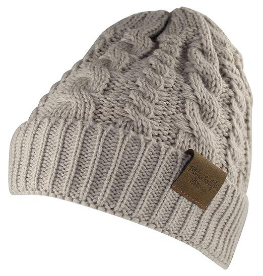 eb3ce23b7 MINAKOLIFE Women's Winter Beanie Warm Fleece Lining - Thick Slouchy Cable  Knit Hat