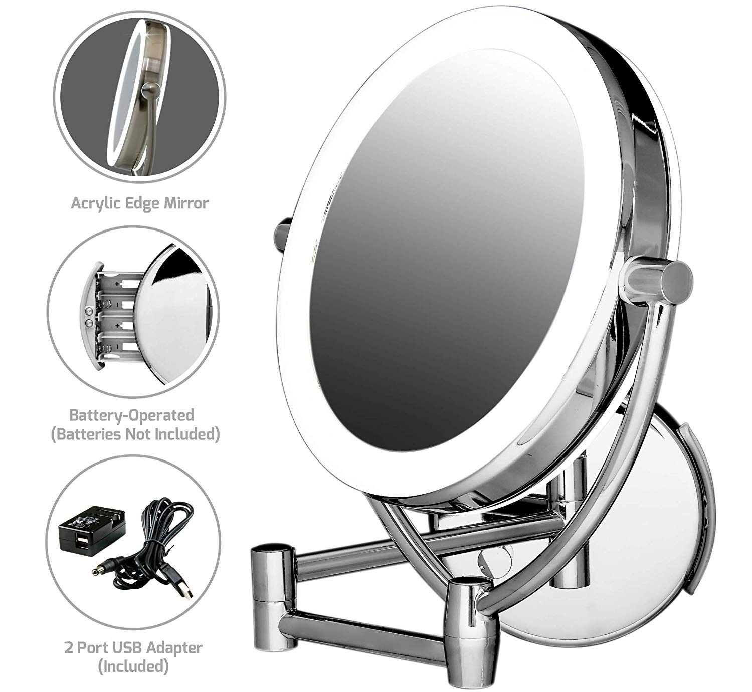 Ovente Wall Mount Mirror, 1 10 Magnification, Premium Acrylic Frame, Diffused LED Ring Light, 9.5 , Battery- or USB Adapter-Operated MLW45CH1X10X