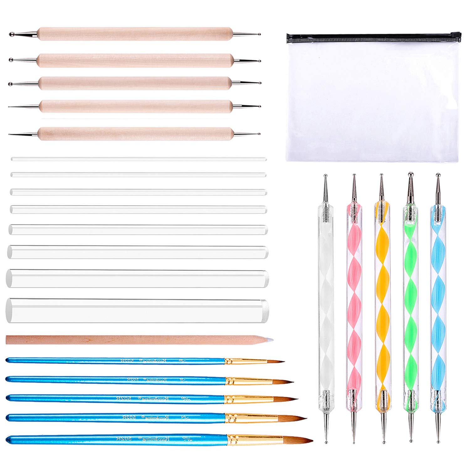 Whaline 25 Pieces Dotting Tool Set for Mandala Rock Painting, Nail Art Painting, Drawing & Drafting and Kids' Crafts