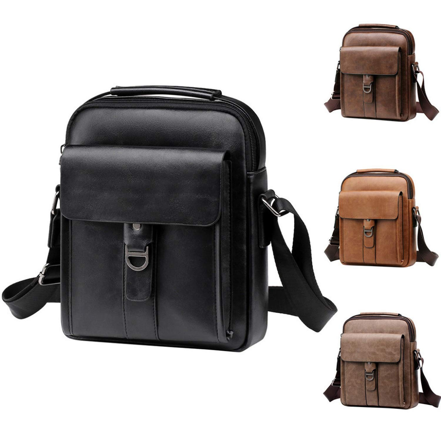 Nianchu Mens Gentleman Business Shoulder Bag Top Quality Male Messenger Bags Solid Color Crossbody Bags Casual Handbag
