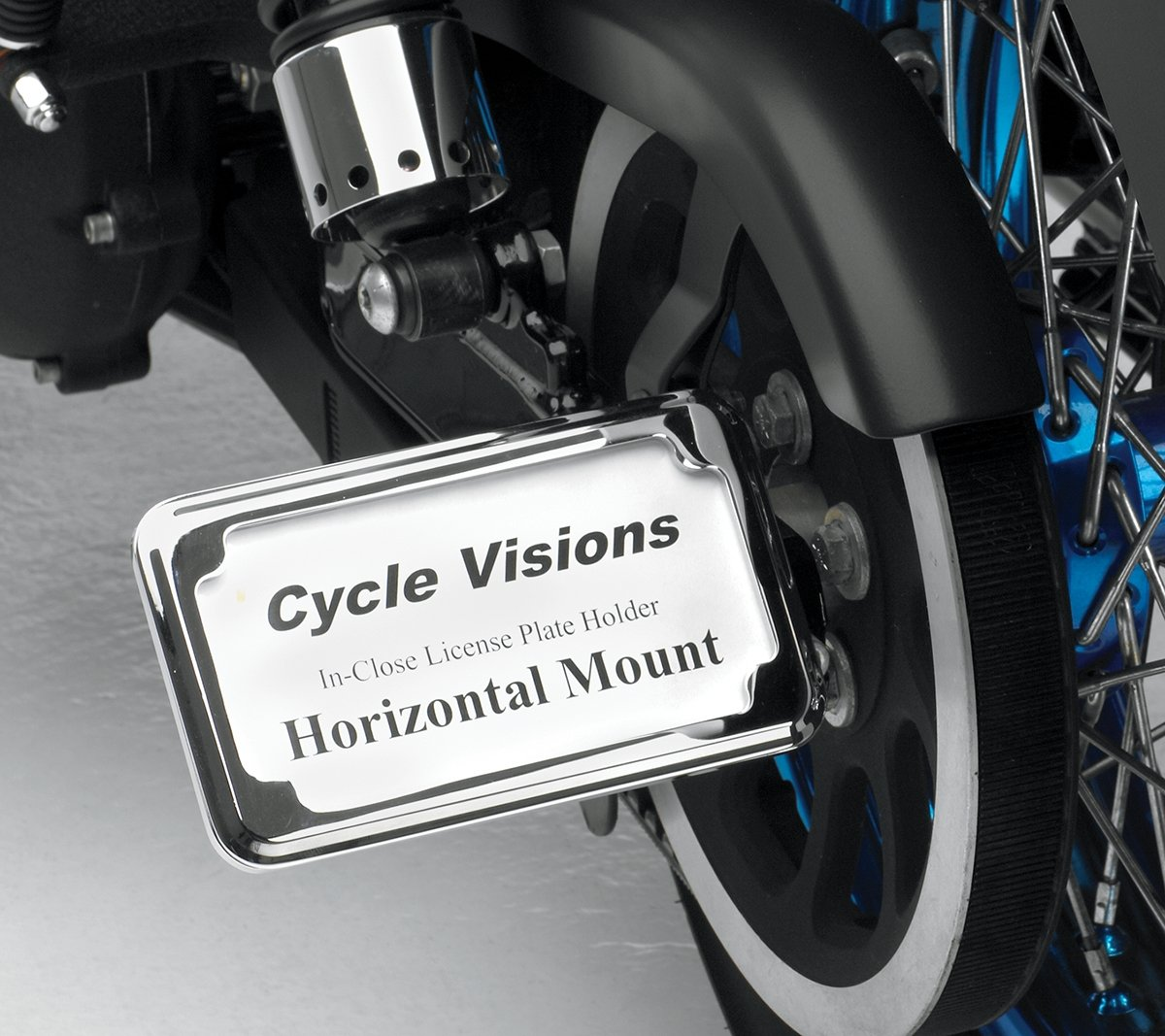 Cycle Visions In-Close Horizontal Slick Signal License Plate Frame and Holder - Chrome CV4604SH