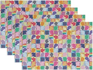 My Little Pony Twilight Sparkle Pinkie Pie Rainbow Dash Heat-Resistant Table Placemats Set of 4 Stain Resistant Table Mats Washable Eat Mat Home Dinner Decorative