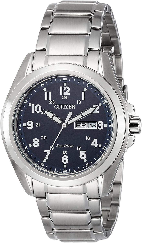 Citizen Reloj WR100Hombre Solar Reloj de Mujer con Esfera analógica Azul Pantalla y Plata Pulsera de Acero Inoxidable aw0050–58L