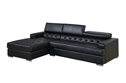 Furniture of America Alair Bonded Leather Sectional Sofa with Adjustable Headrests, Black