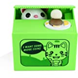 Peradix Itazura Money Coin Bank Automatic Stealing Coins Piggy Bank Penny Cents Saving Box Toy Cute Cat Kitty Kitten Panda for Kids Children Present Gift, Say Hello & Thank You in English