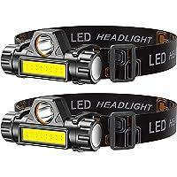 Headlamp, 2 Pack Super Bright Zoomable Headlight, USB Rechargeable 2000 Lumens Waterproof Headlight, Lightweight…