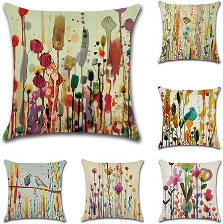 JOTOM 6 Pack Funda de Almohada para Cojín Lino y Algodón Cuadradas,Decorativas para Sofa,Cama,Silla 45 x 45 cm (Aves): Amazon.es: Hogar