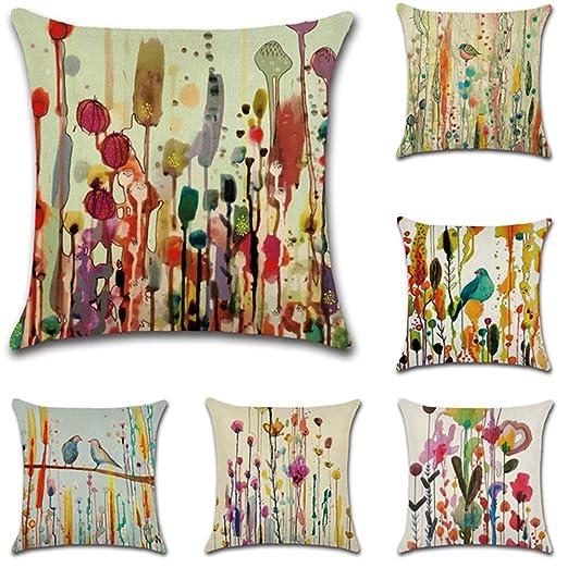 JOTOM 6 Pack Funda de Almohada para Cojín Lino y Algodón Cuadradas,Decorativas para Sofa,Cama,Silla 45 x 45 cm (Aves)