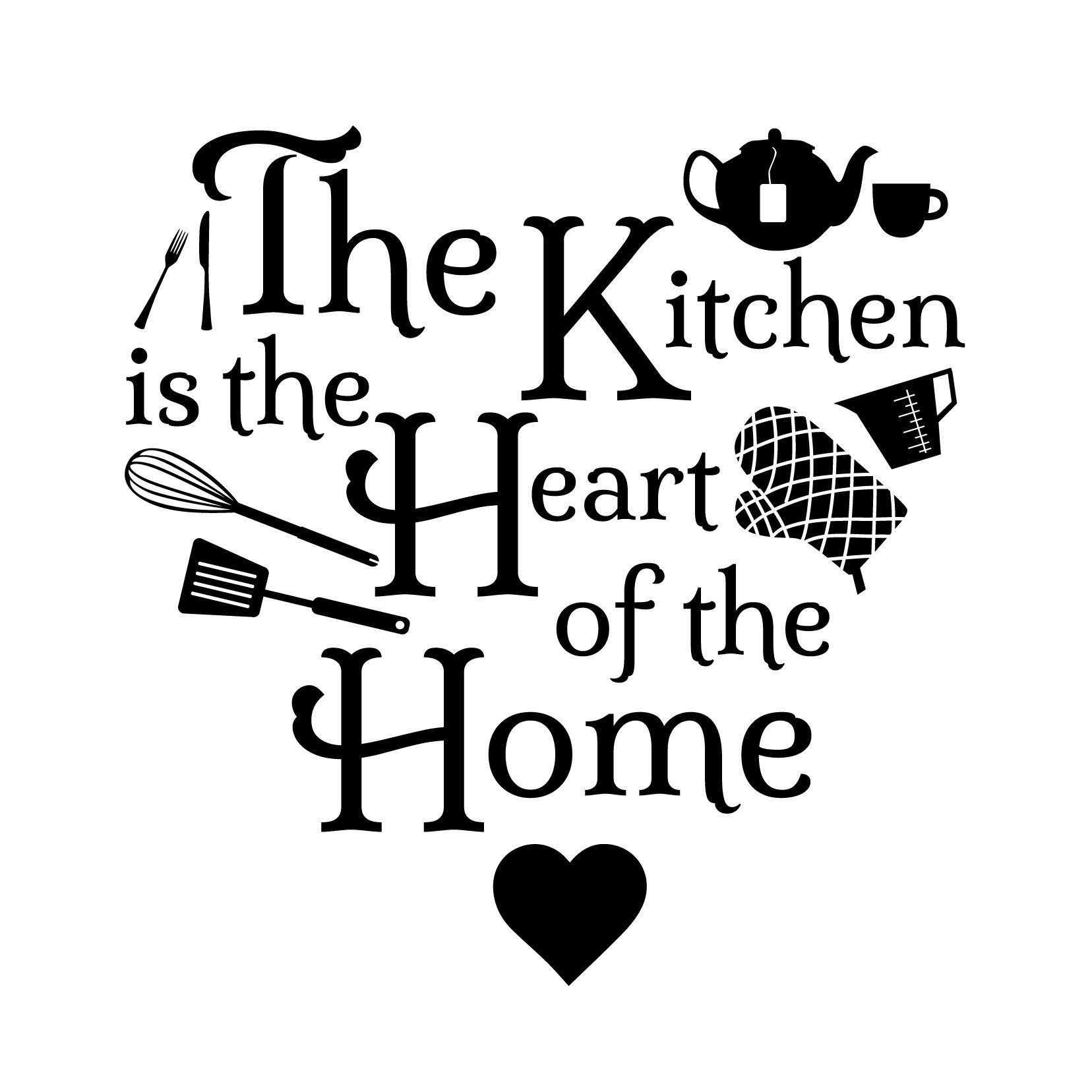 Kitchen Heart Home Icons Quote - Vinyl Wall Art Decal for Homes, Offices, Kids Rooms, Nurseries, Schools, High Schools, Colleges, Universities, Interior Designers, Architects, Remodelers