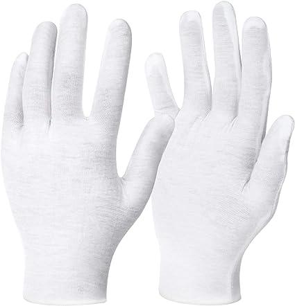 12 pares blanco guantes de algodón para protección de la piel y en 3 tamaños (XL/L/M tamaños), para usos de uso personal a la presentación profesional: Amazon.es: Belleza