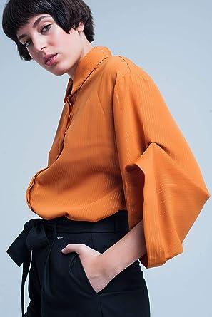 Q2 Camisa Oversize Mostaza con Detalles de lúrex, Amarillo, S Mujeres: Amazon.es: Ropa y accesorios