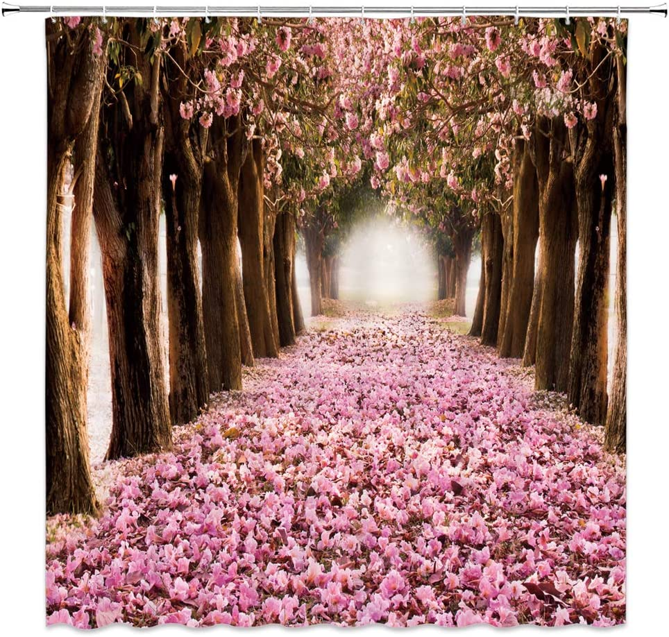 Romance Floral Shower Curtain Gardening Art Decor Early Spring Cherry Blossoms Petals Falling Flower Sea Landscape,Pink Brown Fabric Hooks Included