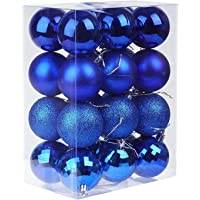 Christmas Decorations,H HOME-MART 24pcs 6CM Christmas Ball Baubles Assorted Pendant Shatterproof Ornament Set Xmas Tree…