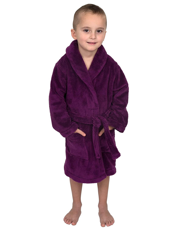 TowelSelections Boys Robe, Kids Plush Shawl Fleece Bathrobe, Made in Turkey