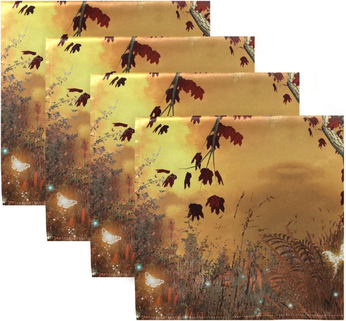 Banquet CPYang Serviettes de Table en Tissu Motif Arbre d/érable Papillon Lot de 1 Serviette de Table de Cuisine pour d/îner de Famille Mariage Restaurant f/ête 50 x 50 cm