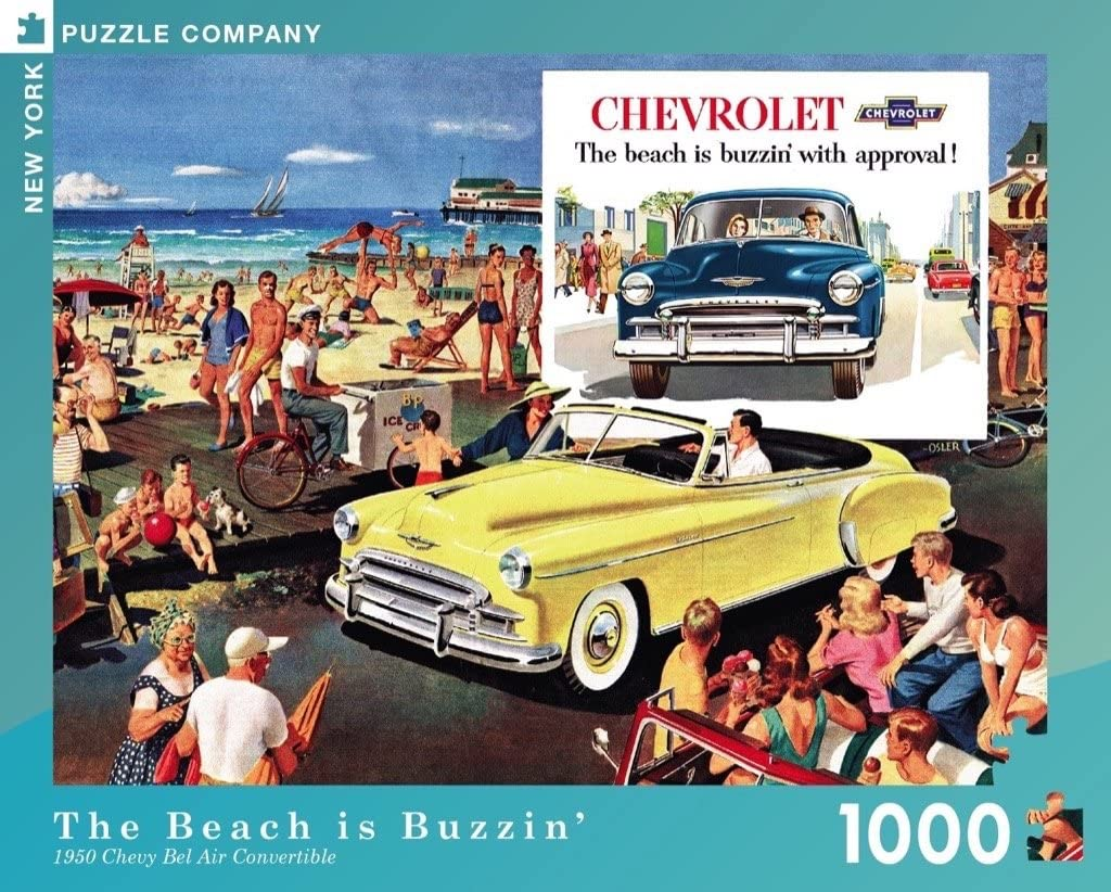 1000 Piece Jigsaw Puzzle New York Puzzle Company General Motors The Beach is Buzzin