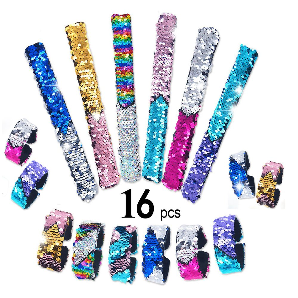 16 Pack Mermaid Slap BraceletsCharm Reversible Sequin Wristbands Magic Wristband Party Favors, Birthday and Christmas Gifts for Girls or Boys