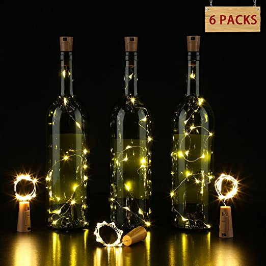 Icoco Wine Bottle Lights With Cork Copper Wire Lights String Starry Bottle Lamp For Diy Party Decor Christmas Halloween Wedding Warm White 6