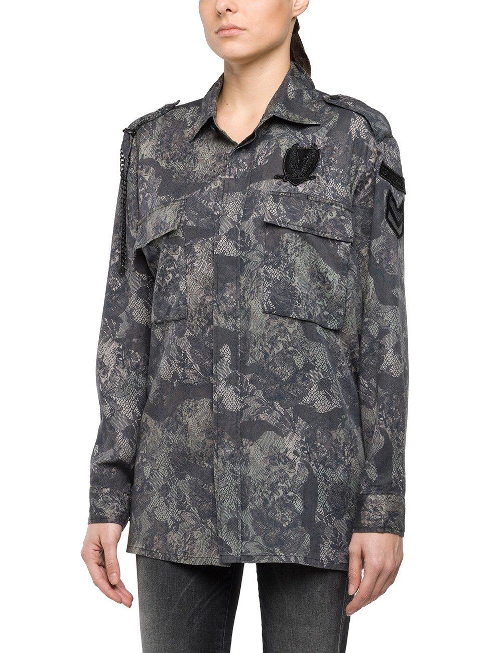 Replay Women's Women's Military Green-Black Shirt in Size XS Grey