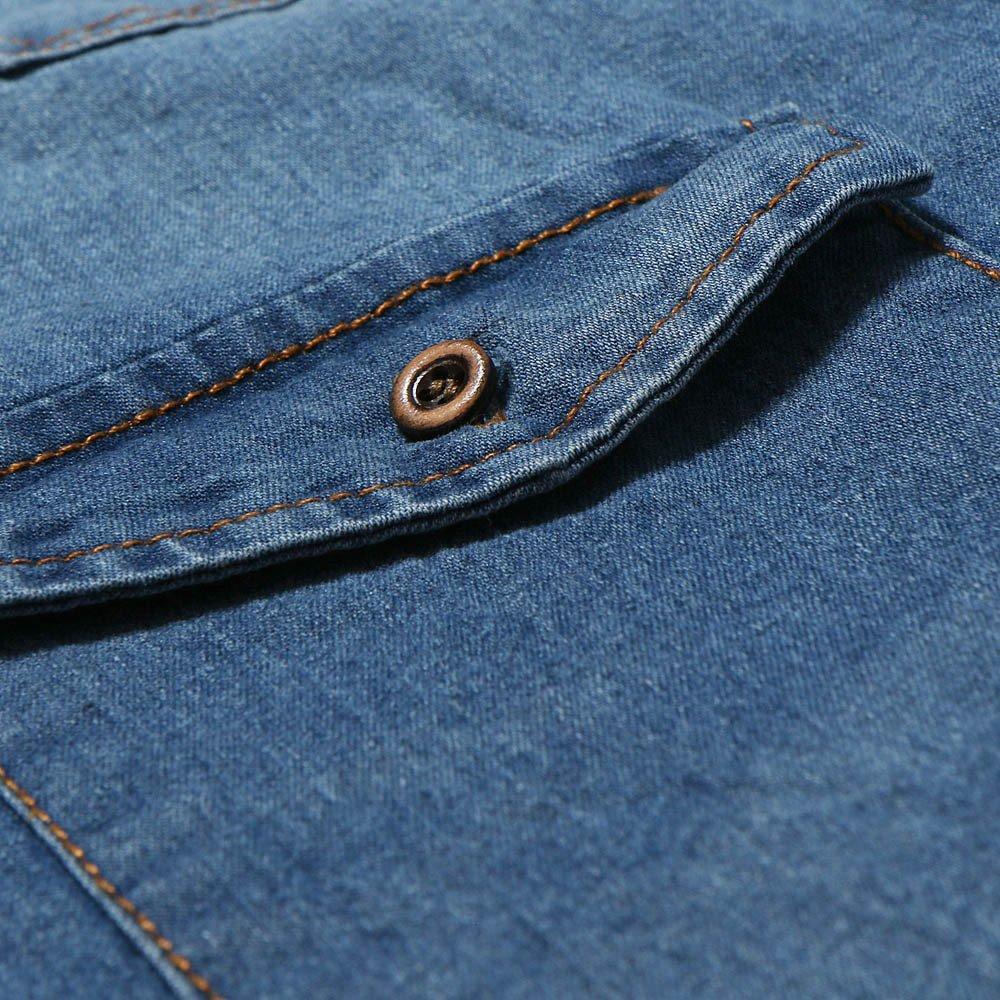 Hombre camisa manga larga Otoño,Sonnena ❤ Camisa vintage otoño invierno de los hombres Camiseta de manga larga en denim sólido desgastado Blusa superior: ...