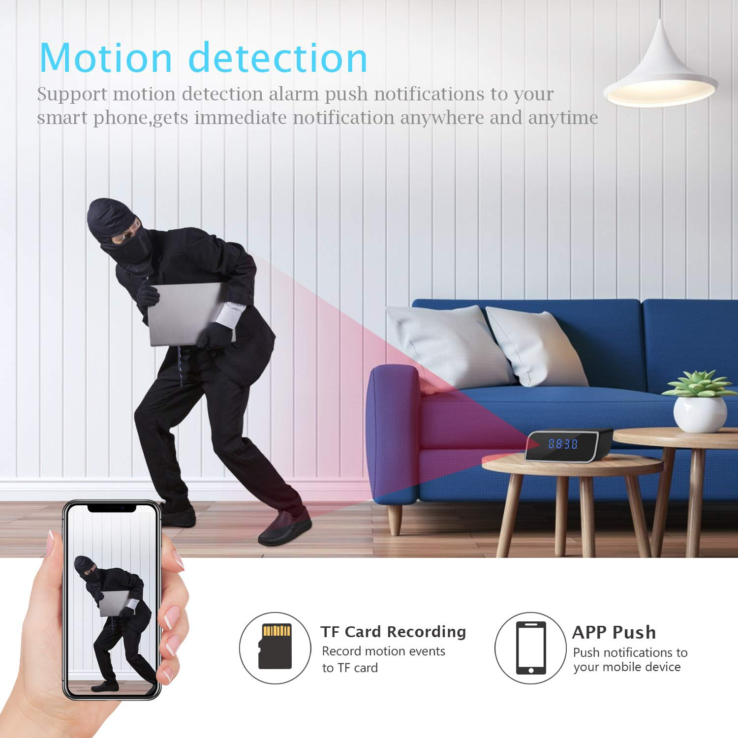 Wireless WiFi Camera 1080P Clock Camera with Night Vision Function and Motion Detection Angle Suitable for Home Security Alarm Camera Clock can be viewed remotely Through APP