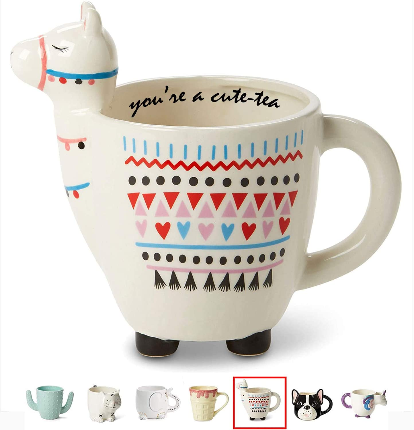 "White Ceramic Coffee or Tea Mugs: Tri-Coastal Design""You're A Cute-Tea"" Llama Coffee Mug with Hand Printed Designs and Printed Saying - 18.6 Fluid Ounce Large, Cute Handmade Cup"